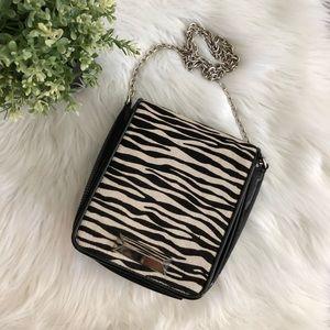 WHBM Patent Leather Zebra Hair Evening Bag